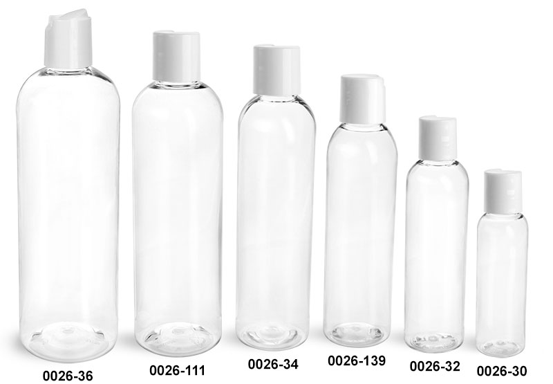 Plastic Bottles, Clear PET Cosmo Round Bottles With Smooth White Disc Top Caps