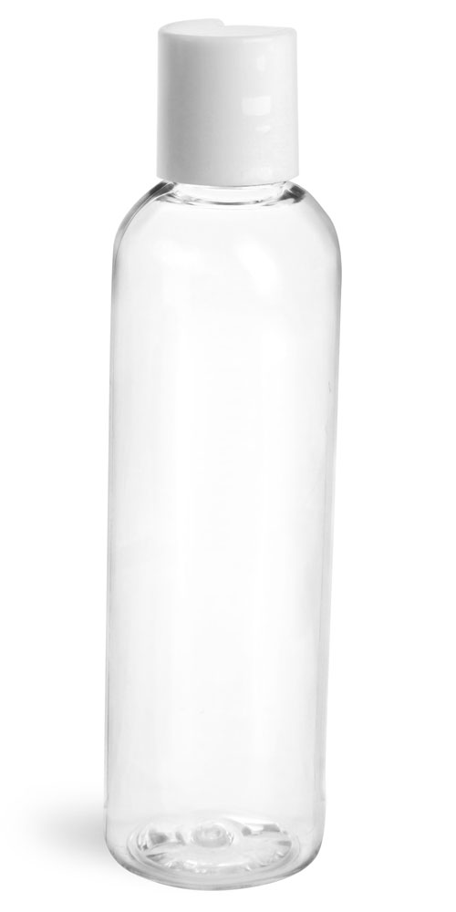 4 oz Clear PET Cosmo Round Bottles w/ Smooth White Disc Top Caps