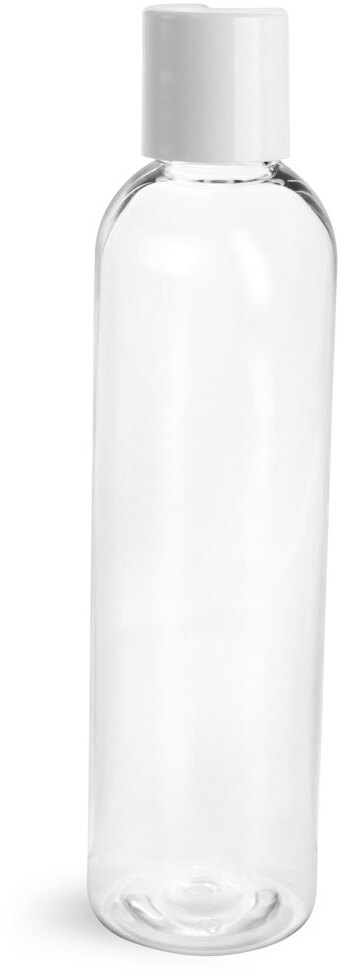 Clear PET Cosmo Round Bottles w/ Smooth White Disc Top Caps