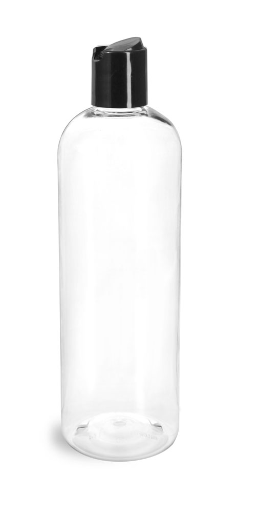 16 oz Clear PET Cosmo Round Bottles w/ Smooth Black Disc Top Caps