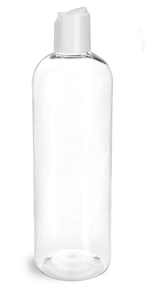 16 oz Clear PET Cosmo Round Bottles w/ Smooth White Disc Top Caps