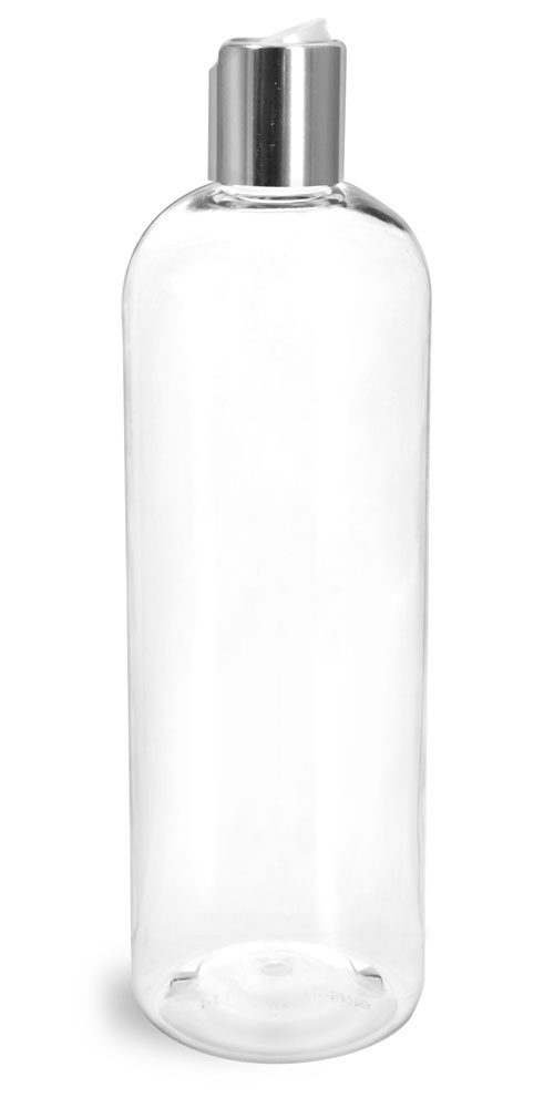 16 oz Clear PET Cosmo Round Bottles w/ Smooth Silver Disc Top Caps