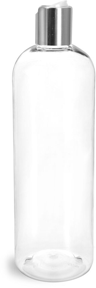 Clear PET Cosmo Round Bottles w/ Smooth Silver Disc Top Caps