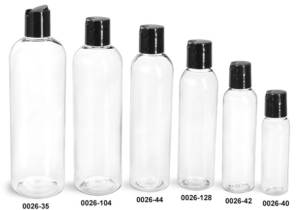 Plastic Bottles, Clear PET Cosmo Round Bottles With Smooth Black Disc Top Caps