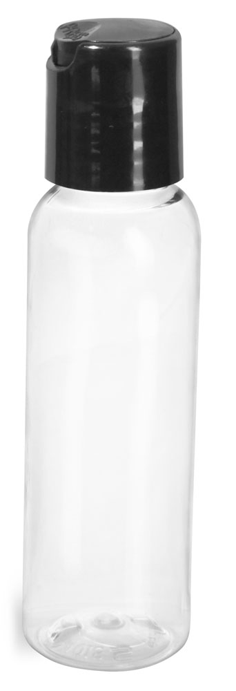 Clear PET Cosmo Round Bottles w/ Smooth Black Disc Top Caps