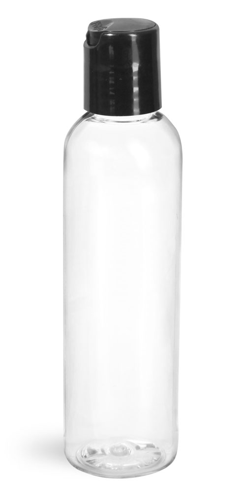4 oz Clear PET Cosmo Round Bottles w/ Smooth Black Disc Top Caps