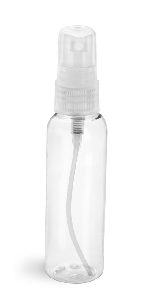 2 oz Clear PET Cosmo Round Bottles w/ Natural Fine Mist Sprayers