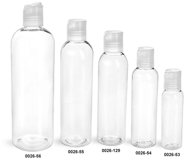 Plastic Bottles, Clear PET Cosmo Round Bottles w/ Natural Disc Top Caps