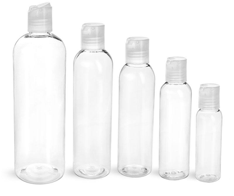 PET Plastic Bottles, Clear Cosmo Round Bottles w/ Natural Disc Top Caps