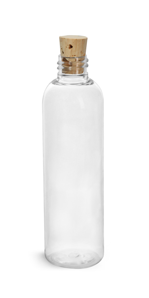 4 oz Clear PET Cosmo Rounds w/ Cork Stopper