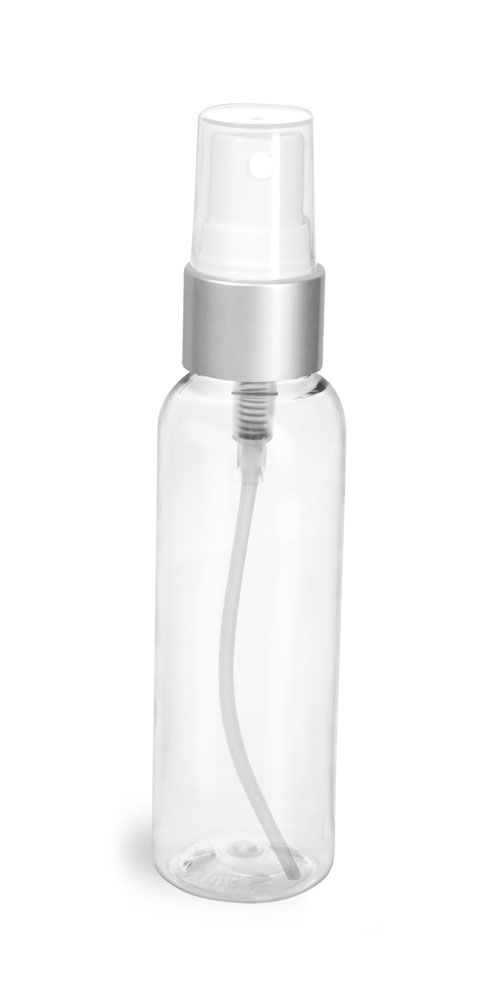2 oz Clear PET Cosmo Round Bottles w/ White Sprayers w/ Brushed Aluminum Collars