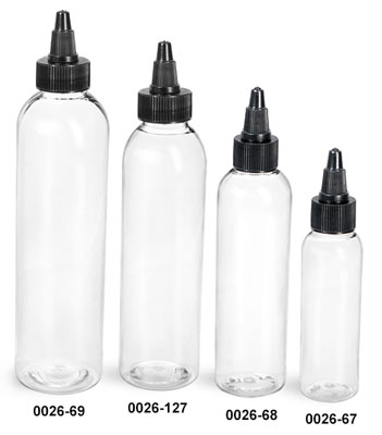 Plastic Bottles, Clear PET Cosmo Round Bottles w/ Black Twist Top Caps