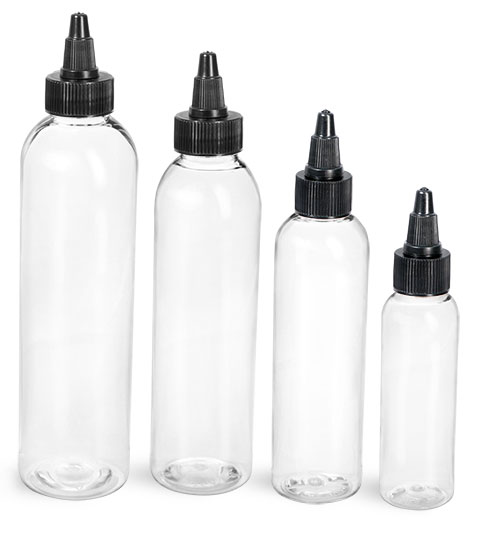 PET Plastic Bottles, Clear Cosmo Round Bottles w/ Black Twist Top Caps