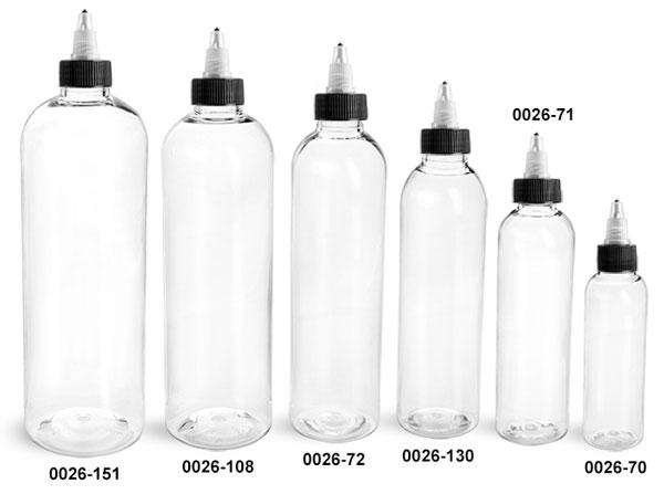Plastic Bottles, Clear PET Cosmo Round Bottles w/ Black / Natural Twist Top Caps