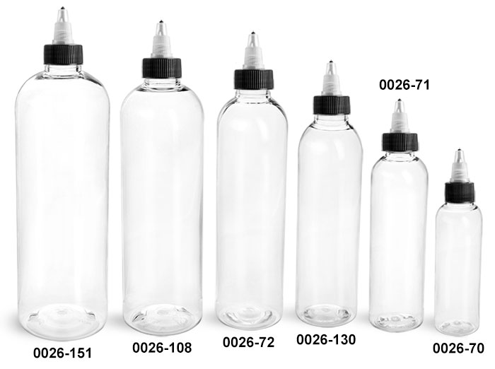 Plastic Bottles, Clear PET Cosmo Round Bottles w/ Black / Natural Twist Top Caps