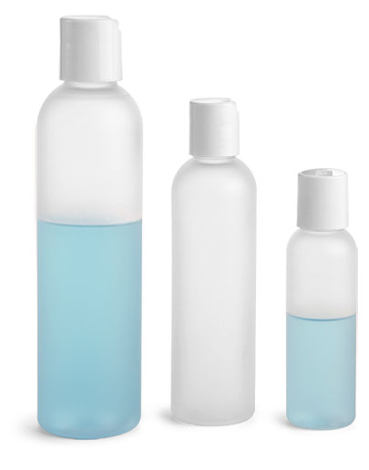 PET Plastic Bottles, Frosted Cosmo Round Bottles w/ White Smooth Disc Top Caps