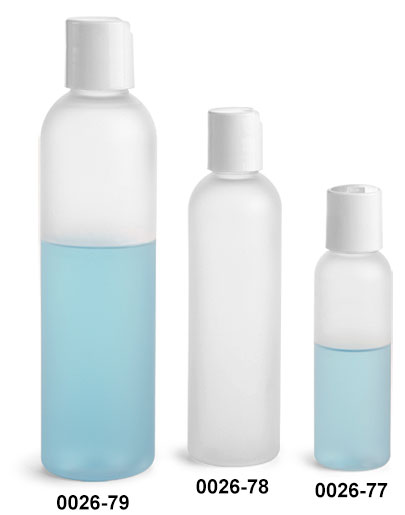 Plastic Bottles, Frosted PET Cosmo Round Bottles w/ White Smooth Disc Top Caps