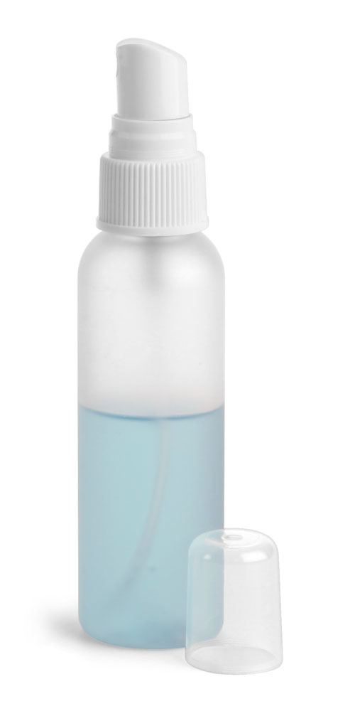 2 oz Frosted PET Cosmo Rounds w/ White Fine Mist Sprayers
