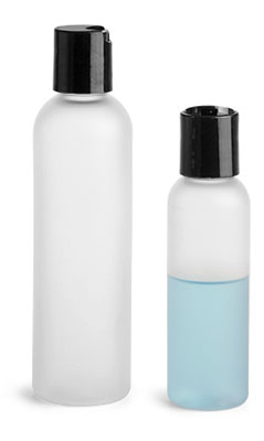 PET Plastic Bottles, Frosted Cosmo Round Bottles w/ Black Disc Top Caps