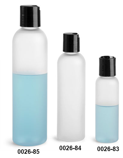 Plastic Bottles, Frosted PET Cosmo Round Bottles w/ Black Smooth Disc Top Caps