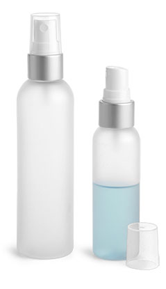 PET Plastic Bottles, Frosted Cosmo Round Bottles w/ White Fine Mist Sprayers w/ Brushed Aluminum Collars