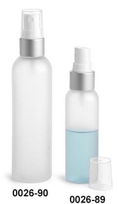Plastic Bottles, Frosted PET Cosmo Round Bottles w/ White Fine Mist Sprayers W/ Brushed Aluminum Collars