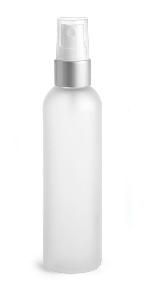 4 oz Frosted PET Cosmo Rounds w/ White Fine Mist Sprayers w/ Brushed Aluminum Collars