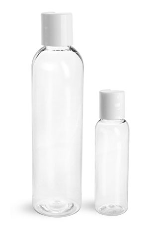 PET Plastic Bottles, Clear Cosmo Round Bottles w/ White Induction Lined Disc Top Caps