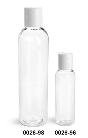 Plastic Bottles, Clear PET Cosmo Round Bottles w/ White Induction Lined Disc Top Caps