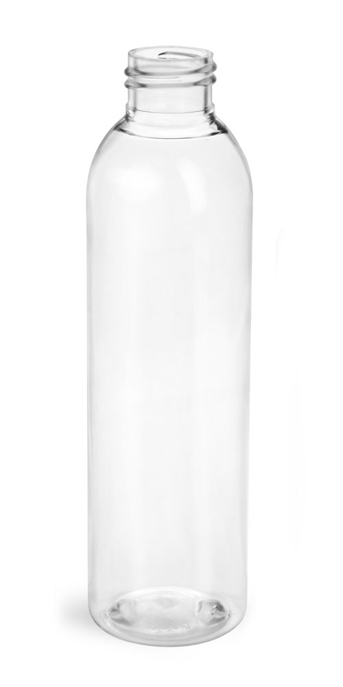 6 oz Clear PET Cosmo Round Bottles (Bulk)