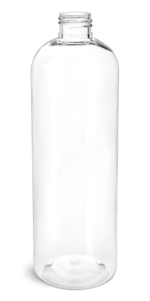 16 oz Clear PET Cosmo Round Bottles (Bulk), Caps NOT Included