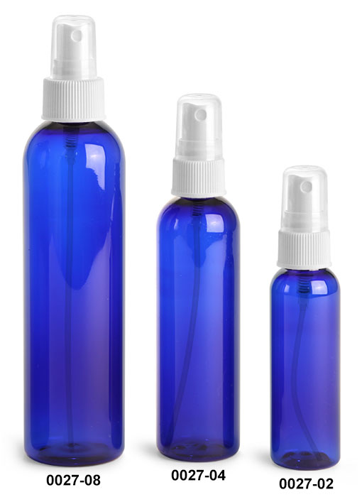 Plastic Bottles, Blue PET Cosmo Round Bottles With White Ribbed Fine Mist Sprayers