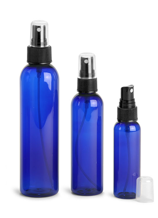 Plastic Bottles, Blue PET Cosmo Round Bottles w/ Black Ribbed  Fine Mist Sprayers