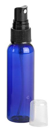 2 oz Blue PET Cosmo Round Bottles w/ Black Fine Mist Sprayers