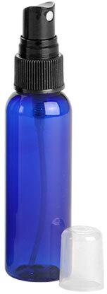Blue PET Cosmo Round Bottles w/ Black Fine Mist Sprayers