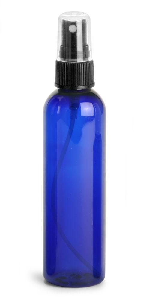 4 oz Blue PET Cosmo Round Bottles w/ Black Fine Mist Sprayers