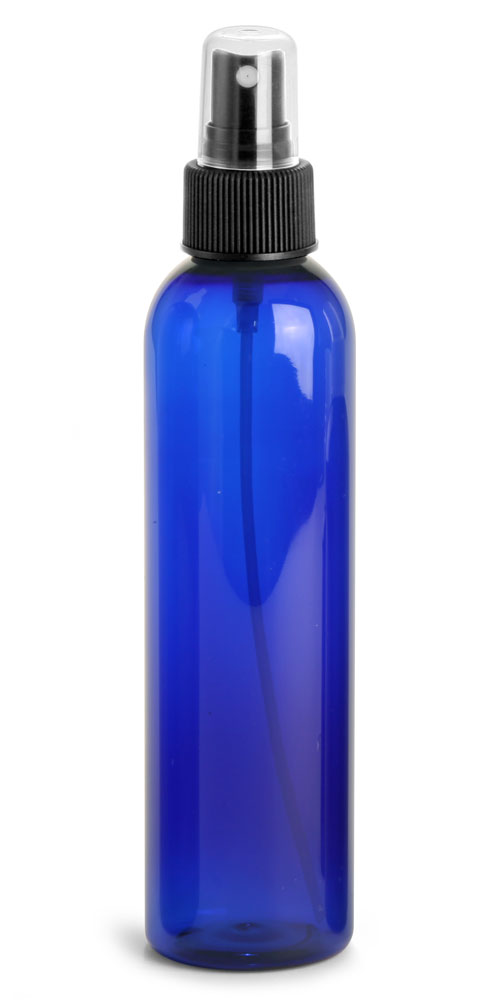 8 oz Blue PET Cosmo Round Bottles w/ Black Fine Mist Sprayers