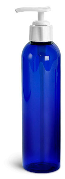Blue PET Cosmo Round Bottles w/ Lotion Pumps