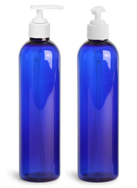Plastic Bottles, 8 oz Blue PET Cosmo Rounds with White Lotion Pumps