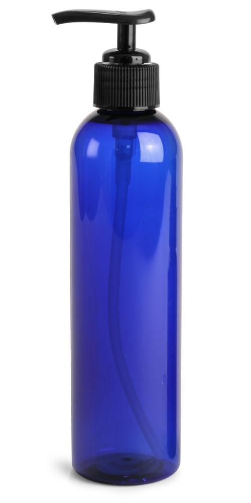 8 oz Blue PET Cosmo Round Bottles w/ Lotion Pumps