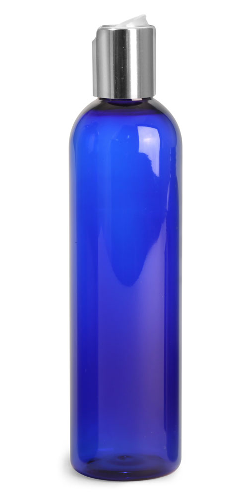 8 oz Blue PET Cosmo Rounds w/ Silver Disc Top Caps