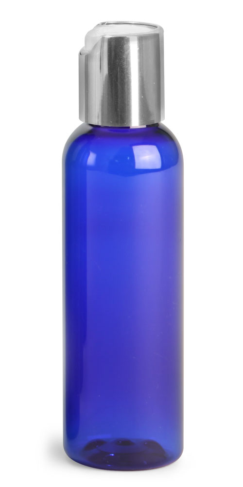 2 oz Blue PET Cosmo Rounds w/ Silver Disc Top Caps