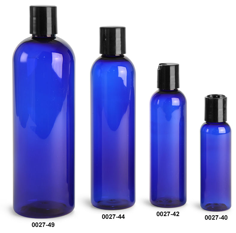 Plastic Bottles, Blue PET Cosmo Rounds with Smooth Black Disc Top Caps
