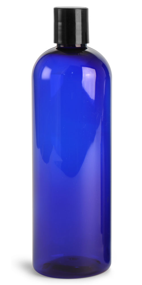 16 oz Blue PET cosmo Round Bottles w/ Black Disc Top Caps