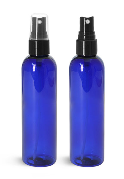 Plastic Bottles, Blue PET Cosmo Round Bottles w/ Smooth Black Fine Mist Sprayers
