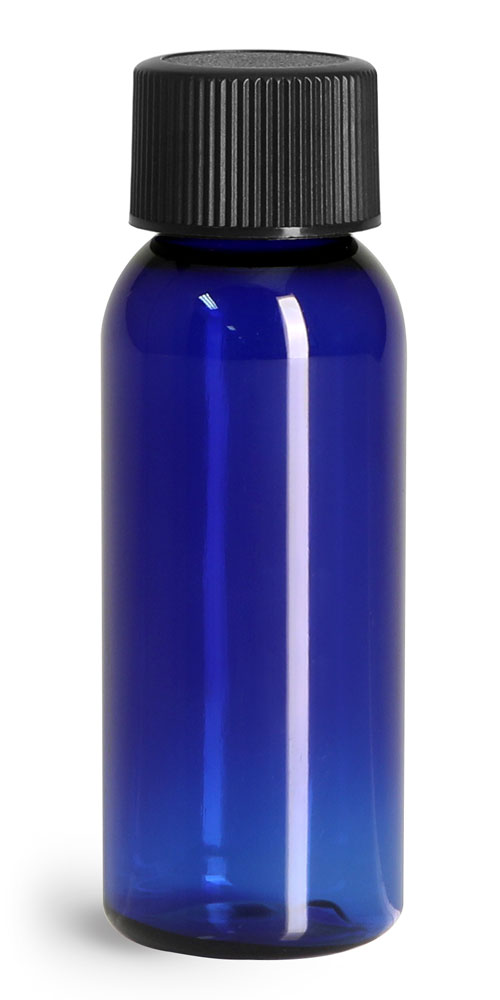 1 oz Blue PET Cosmo Rounds w/ Black Ribbed PE Lined Caps