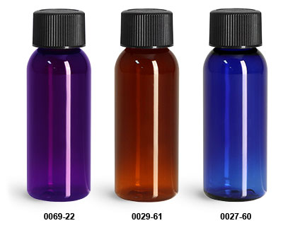 Plastic Bottles, PET Cosmo Round Bottles w/ Black Ribbed PE Lined Caps