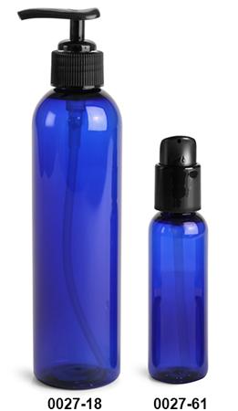 Plastic Bottles, Blue PET Cosmo Round Bottles w/ Black Lotion Pumps & Treatment Pumps