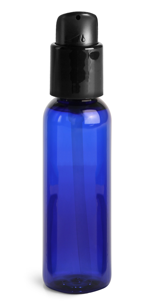 2 oz Blue PET Cosmo Round Bottles w/ Black Treatment Pumps