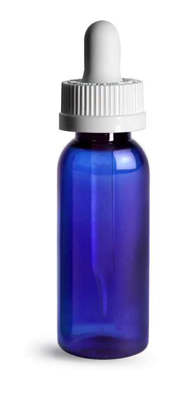 Blue Plastic Bottles, 1 oz PET Cosmo Round Bottles w/ White Child Resistant Droppers
